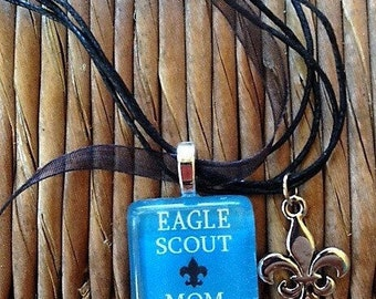 Eagle Scout Mom glass tile and charm by Maggie Taggie glass tile tags