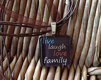 Live laugh love family charm necklace