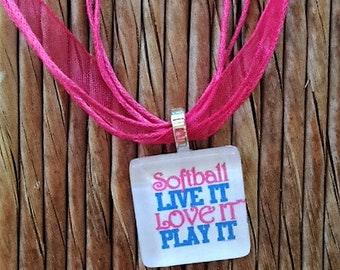 Softball charm necklace