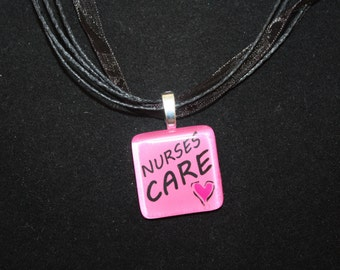 Nurses Care glass tile by Maggie Taggie glass tile tags