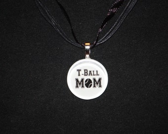 T Ball Mom glass tile by Maggie Taggie glass tile tags.