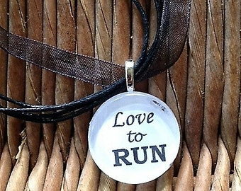 Love to RUN glass tile tag necklace.
