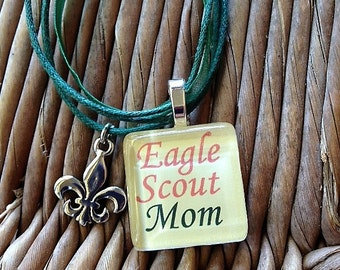 Eagle Scout Mom glass tile with charm necklace by Maggie Taggie glass tile tags