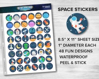NEW! Space Stickers Set | nasa rockets planet moon space ship stars alien astronaut telescope solar system constallation comet satellite