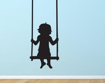 Boy on Swing Vinyl Wall Decal | playroom boys bedroom daycare wall decal kids playing boy swinging swing wall decal playtime kids room