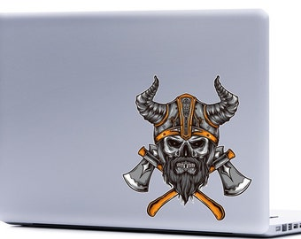 Viking Skull Laptop Decal | skull and axes vikings skulls viking helmet stickers FREE SHIPPING car decal outdoor decals yeti cup phone decal