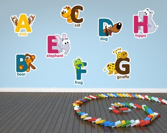 Animal Alphabet And Numbers Printed Wall Decals | Kids Wall Decor Abc  Decals Abc Wall Art Alphabet Wall Decal Home School Decor Letters