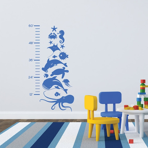 Kids Growth Chart Wall Decal Growth Chart Ruler Nautical Etsy