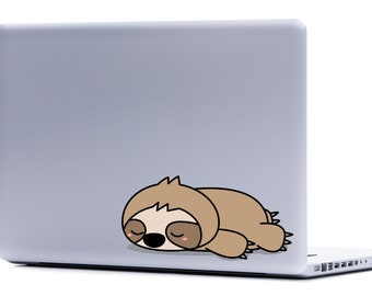 Sleepy Sloth Laptop Decal | sloth sticker FREE SHIPPING macbook decal car decal yeti cup decals iphone decal cute sloth cartoon sloth
