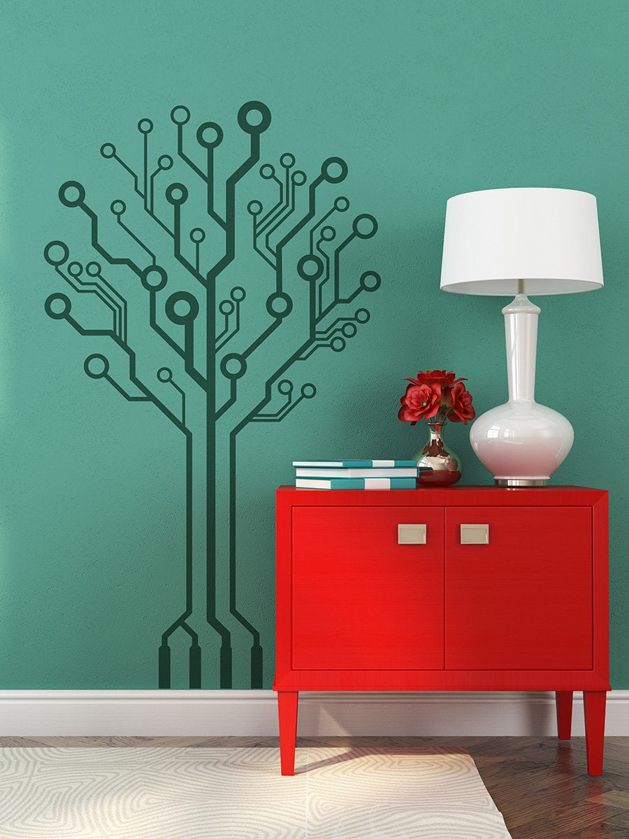 Circuit Tree Ver 20 Wall Decal Geekery Computer Etsy Board Vinyl Art Graphic Stickers Decals