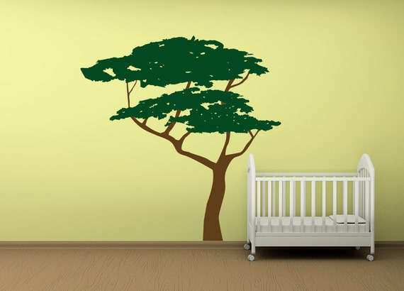 Six Foot Tall Acacia Tree Vinyl Wall Decal Large Tree Wall Etsy