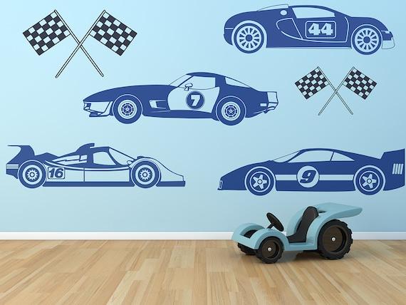 Kids Race Car Set Wall Decals Boys Wall Art Race Cars Race Car Bedroom Kids Wall Art Car Theme Bedroom Race Car Wall Decals Nascar Decal