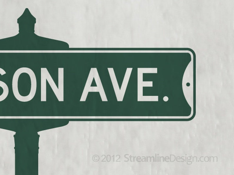 madison avenue mad men tv show sixties wall decor tv shows street sign decal don draper Vintage Street Sign Removable Vinyl Wall Decal