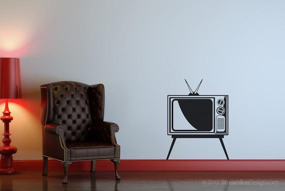 Retro televisie muur sticker tv muur sticker vintage tv etsy