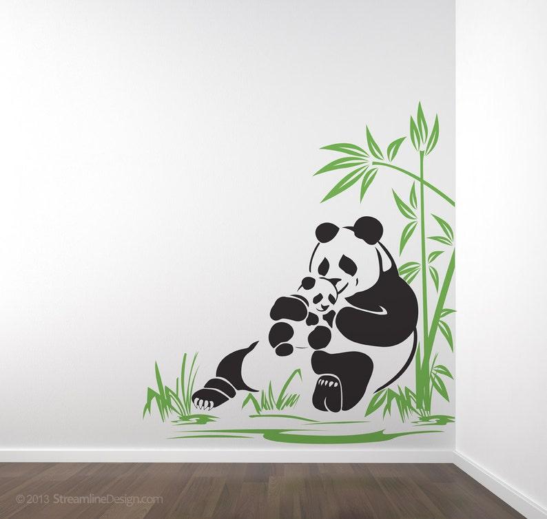 Ours Panda et Panda Cub sticker mural maman panda adorable | Etsy