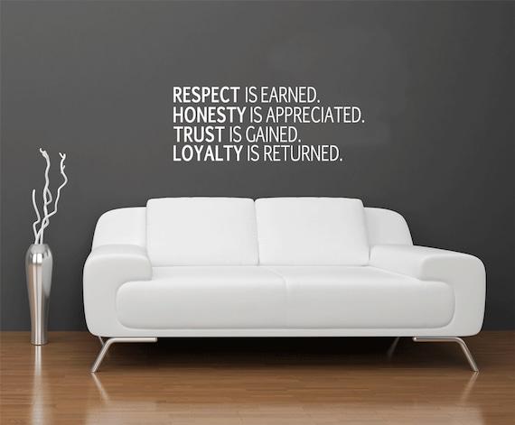 Respekt Ehrlichkeit Vertrauen Loyalität Wandaufkleber Büro Wand Dekor Business Zitate Wand Kunst Motivierende Sprüche Wand Aufkleber Wand Wörter