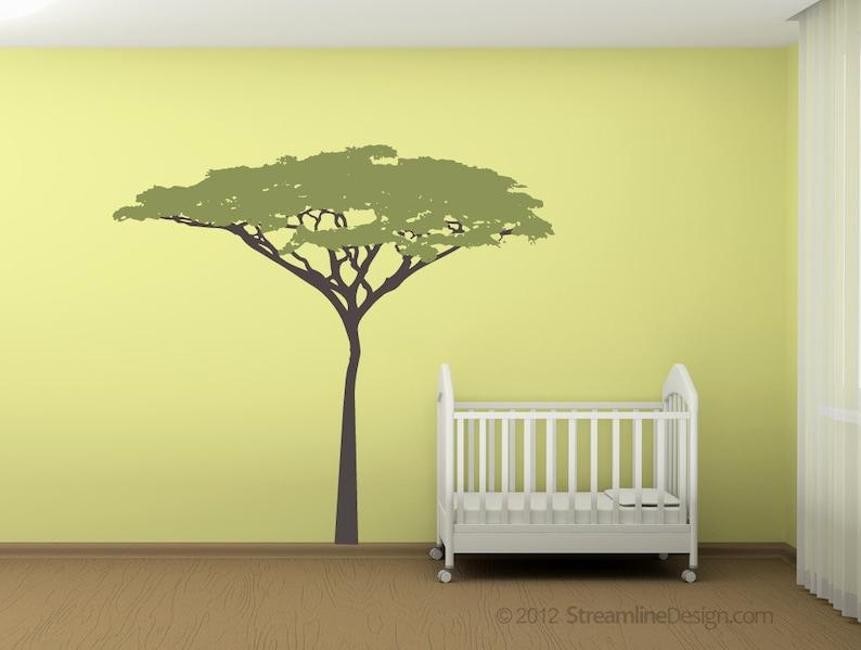 Six Foot Tall Acacia Tree Removable Vinyl Wall Decal large tree wall art safari nursery tree wall decal kids safari wall art