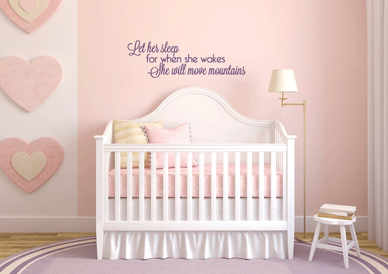 let her sleep wall decal baby girl nursery wall art wall | etsy