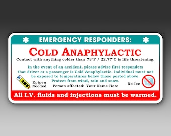 Cold Urticaria Emergency Responder Decal Set | cold anaphylactic response warning stickers rescue worker decals FREE SHIPPING