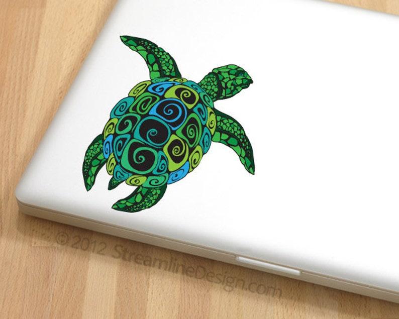 Ornate Sea Turtle Vinyl Decal  Sea turtle sticker free image 1