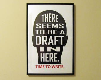 Draft in Your Head Time To Write Poster | writing poster writer author novelist gifts for writers poster print author gift writing posters