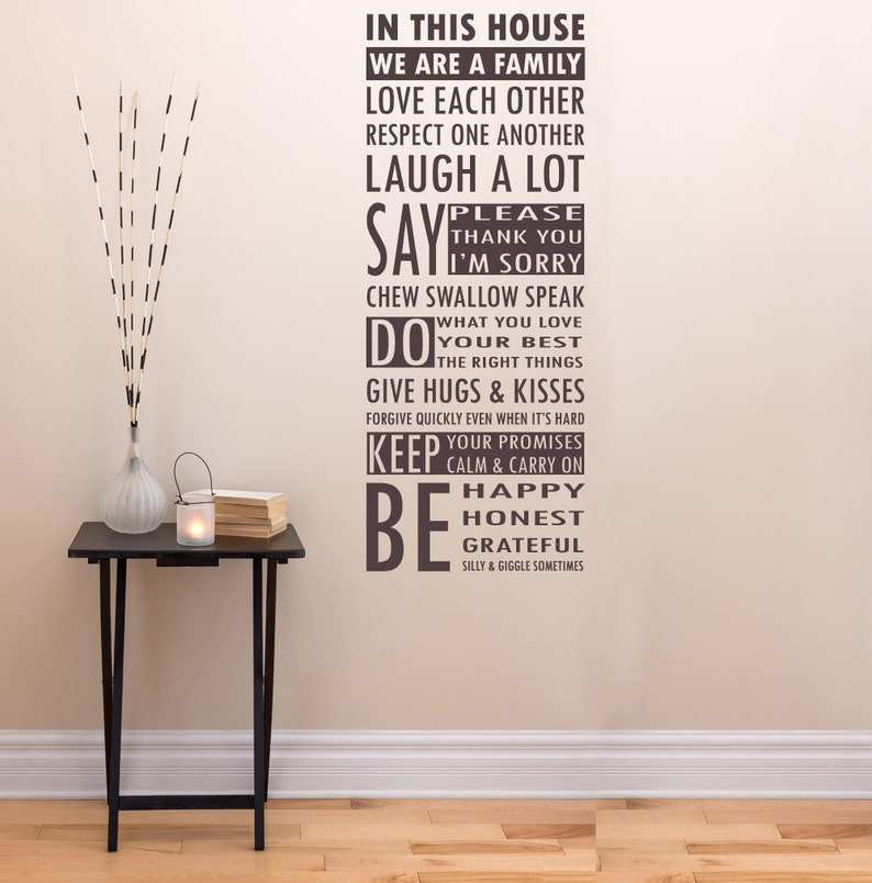 in this house we are a family wall decal laugh happy love | etsy