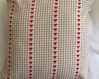 Love Heart Cushion Cover, Red Love Heart Cushion, 16'' Birthday Gift, Valentines Day Gift, Bedroom Cushion