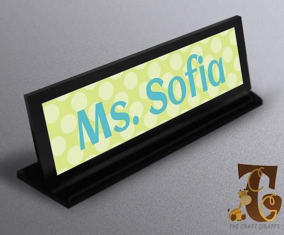 Name Plate Name Plate Teacher Gifts Classroom Decor Teacher Name Custom Name Plate Office Gift Light Green Polka Dots Name Plate A020