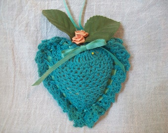 Vintage Crocheted Heart Pin Cushion Turquoise Heart Ribbon Roses Cottage Chic