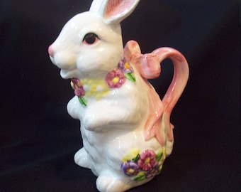"""Vintage Bunny Rabbit Pitcher 7"""" Tall Pitcher Spring Easter Table Decor Country Cabin"""