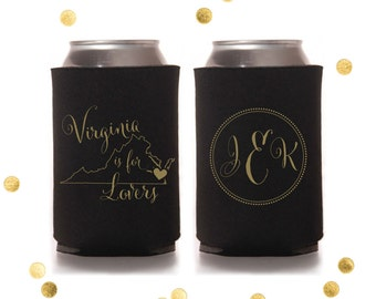 Virginia is for Lovers - Custom Can Cooler - Personalized Reunion Wedding Favor or Party Gift - Shower Gift - Engagement Party Huggie Coolie