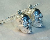 Skull earrings, sterling silver, handmade