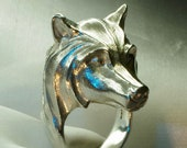 Wolf ring handmade stering silver