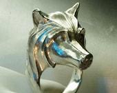 Wolf ring handmade stering silver