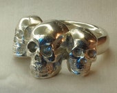 Triple skull ring, sterling silver, handmade