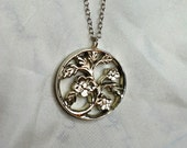 Wild rose pendant, silver, handmade necklace