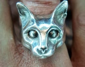 Cat ring sterling silver handmade