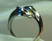 Dolphin ring, crossover, sterling silver, handmade, unusual