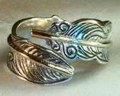 Feather ring sterling silver gold, leaf ring