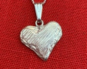 Silver heart necklace slate-look handmade
