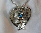 Angel pendant handmade sapphire ruby silver