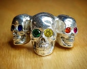 Triple skull ring, sterling silver, rainbow, handmade