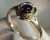 Rose silver ring with gemstone