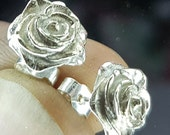 Rose earrings, flower earrings, silver earrings