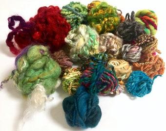 4 ounces Bulky 2 Ply Handspun Yarn Wool Handspun Bag O/' Fun Lockspun Chunky Single Ply Art Yarn