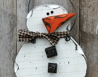 Wood Snowman, Primitive Decor, Rustic Winter Decor, Rustic Snowman, Primitive Winter, Primitive Snowman, Chunky Snowman, Winter Door Hanger