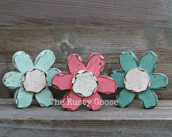 Spring Decor, Spring Flower, Wood Flower, Flower Shelf Sitter, Primitive Flower, Rustic Flower, Summer Flower, Nursery Decor, Pink Flower