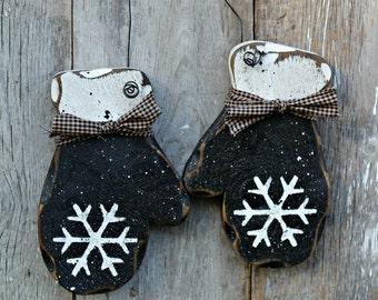 BLACK mittens, rustic winter decor, primitive winter, winter door hanger, wood winter decor, rustic holiday, winter gift, handmade decor