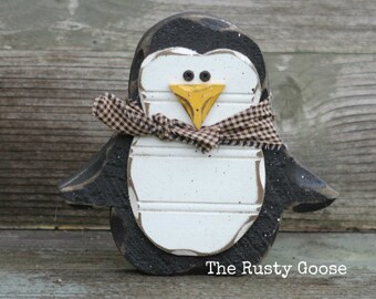 Penguin, Winter Decor, Winter Gift, Christmas Gift, Penguin Decor, Holiday Penguin, Holiday Decor, Rustic Holiday Decor, Primitive Holiday