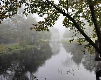 Fog Landscape Art DIGITAL Download Photography Rustic Woodlands Nature Background Graphics Farm Pond COMMERCIAL LICENSE
